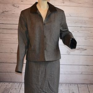 Studio 205 Wool Skirt Suit Tweed Russia Size 16